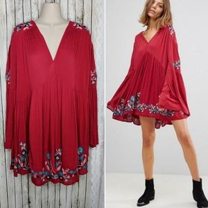 Free People Te Amo Embroidered Bell Sleeve Dress S
